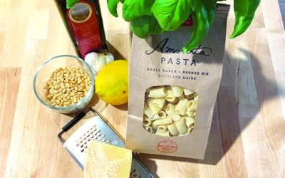 Fresh Pesto ingredients and local pasta