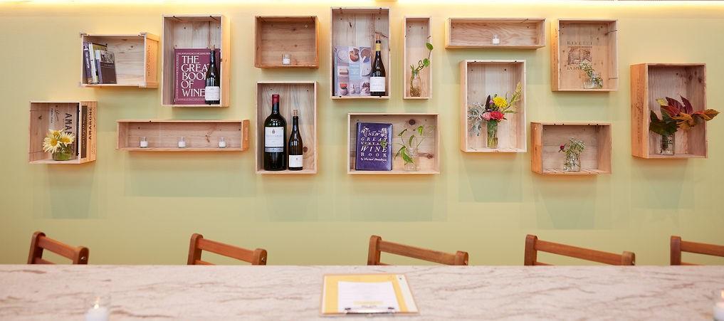 Rosemont Market & Wine Bar Wine Shelves and barstools